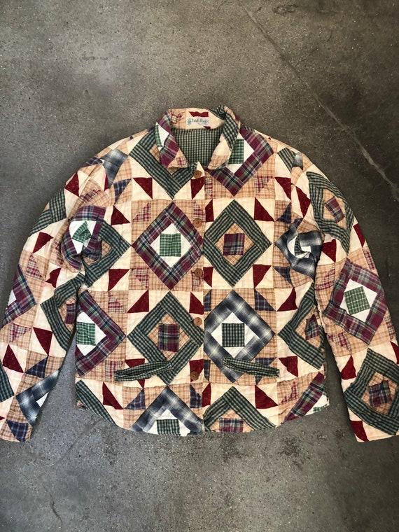Vintage patchwork jacket | quilt chore coat large