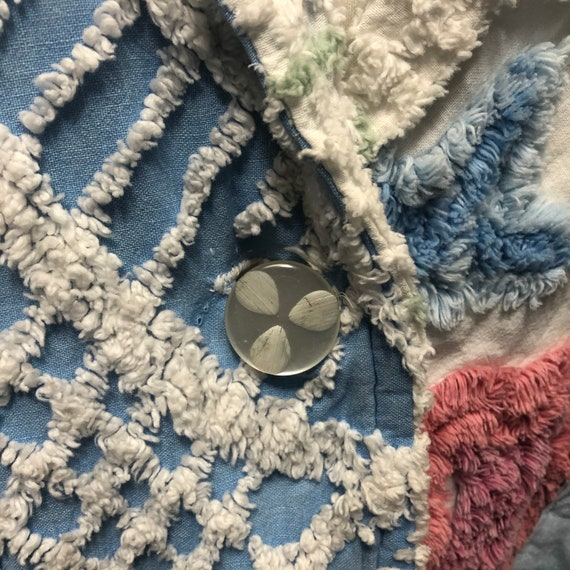 Vintage chenille robe quilted patchwork jacket 19… - image 5