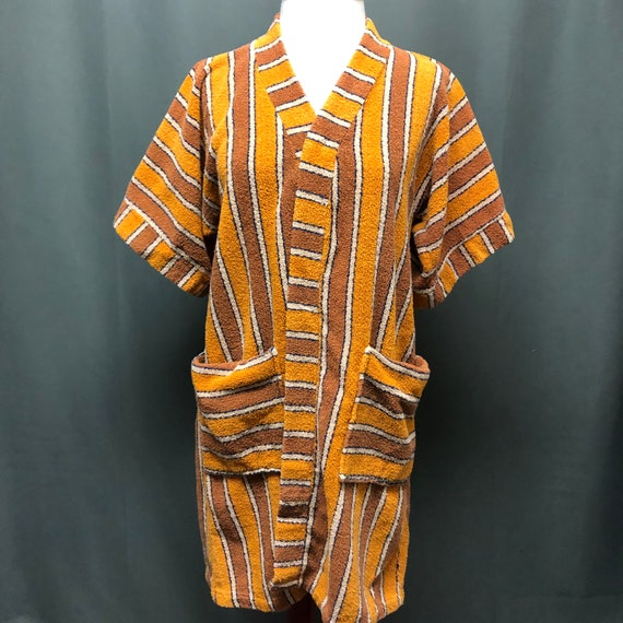 Vintage terry cloth robe 70s swimsuit cover-up poo