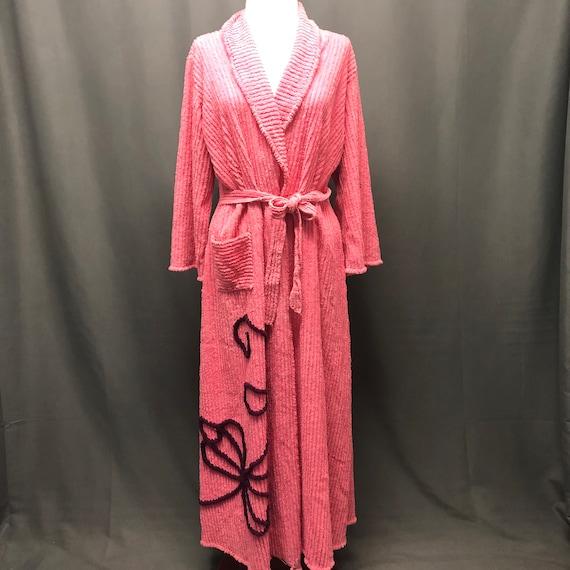 Vintage Chenille robe handmade pink bedspread 1940