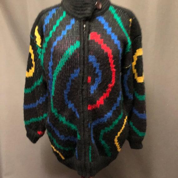 Vintage 80s pop art oversized cardigan sweater coa