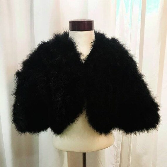 Vintage Marabou feather cropped evening 70s style
