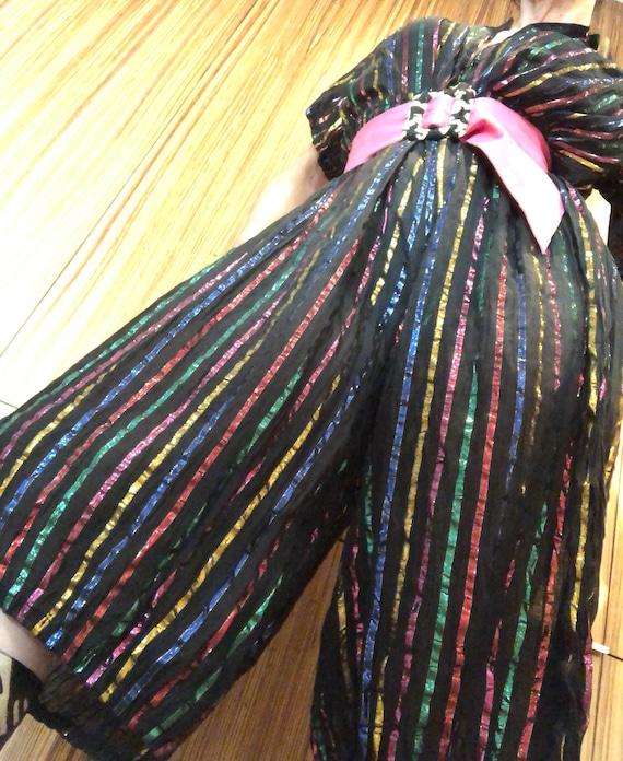 Fabulous Indian gauze metallic rainbow striped 70s