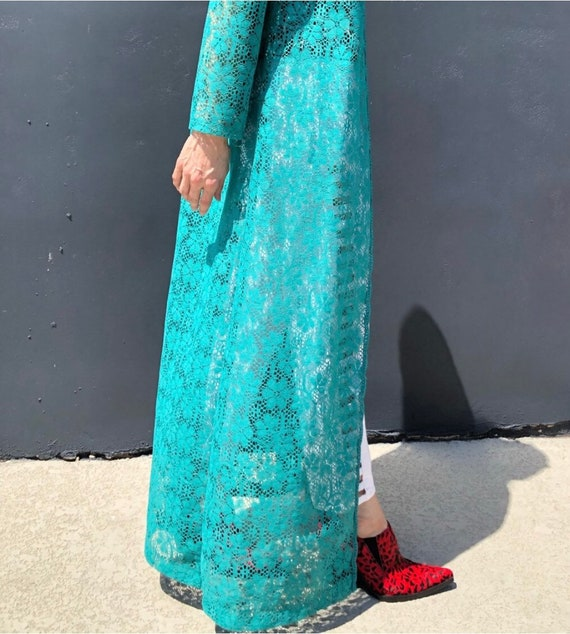 Vintage lace long duster jacket  turquoise Daisy l