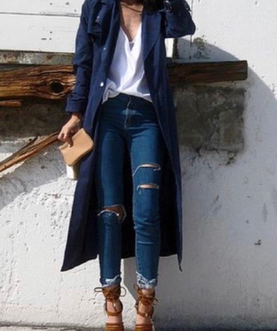 Christian Dior vintage navy blue trench coat