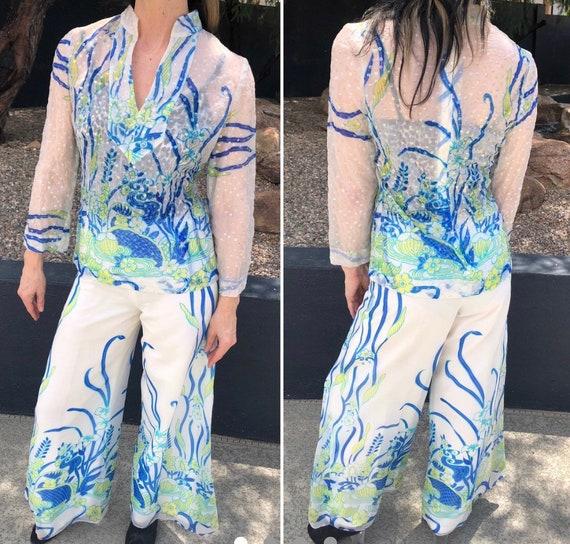 Vintage palazzo pants sets Floral pattern semi sh… - image 1