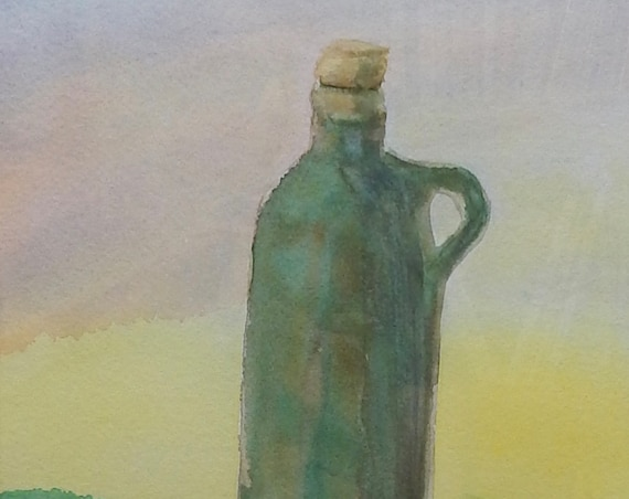 Painting of vintage ceramic bottle