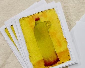 Bottle, set of 6 notecards