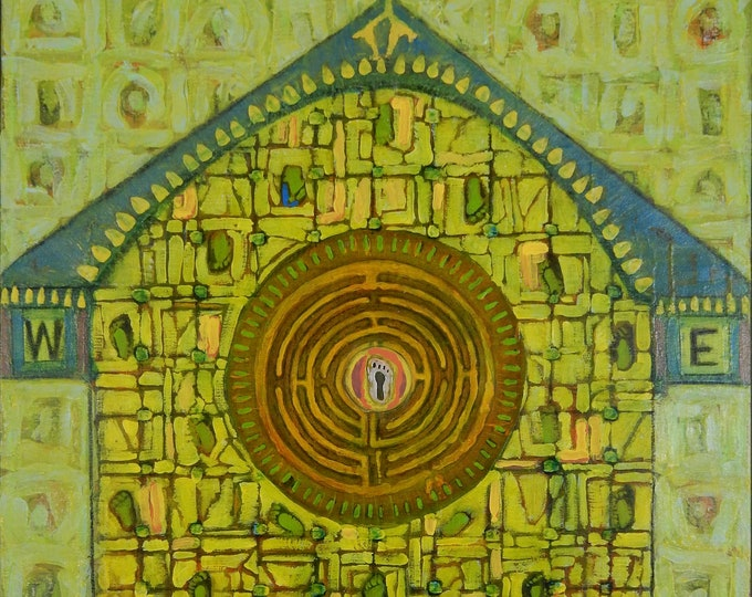 "Acrylic painting entitled ""Birdhouse Labyrinth"""