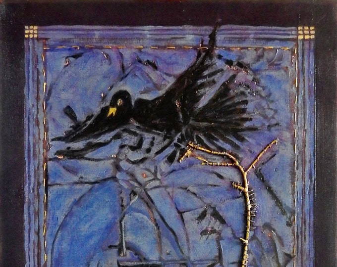 "Blackbird painting inspired by the lyrics of the song ""Blackbird"" by John Lennon & Paul McCartney"