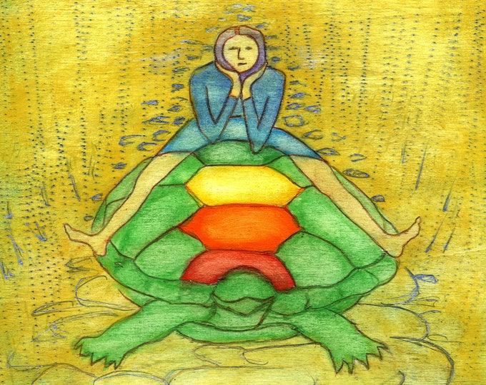 T  is for Turtle.  Hand-signed print of original artwork