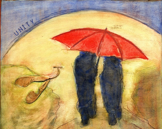 U  is for Umbrella.  Hand-signed print of original artwork