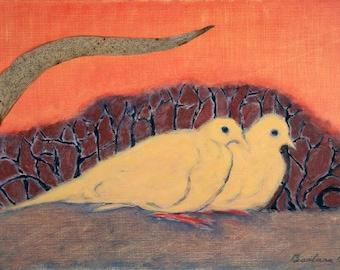 Doves Huddled, hand-signed print of original artwork
