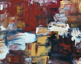 Original Abstract Painting Modern Acrylic Art  on Canvas 40 x 16