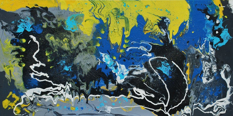 Original Abstract Art / Painting on Canvas 48 x 24 image 0
