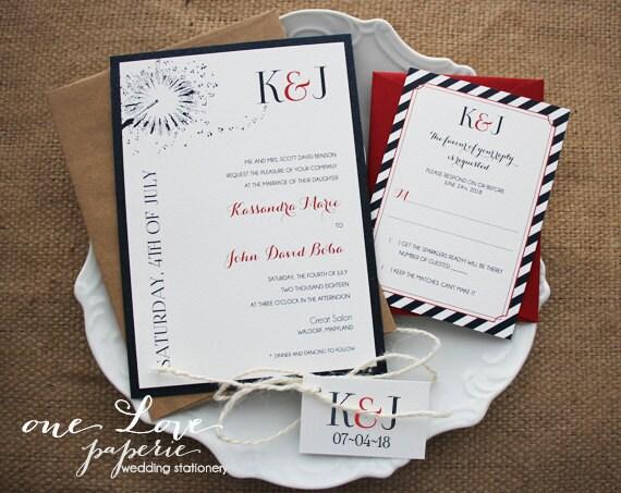 fourth of july wedding invitations summer wedding etsy