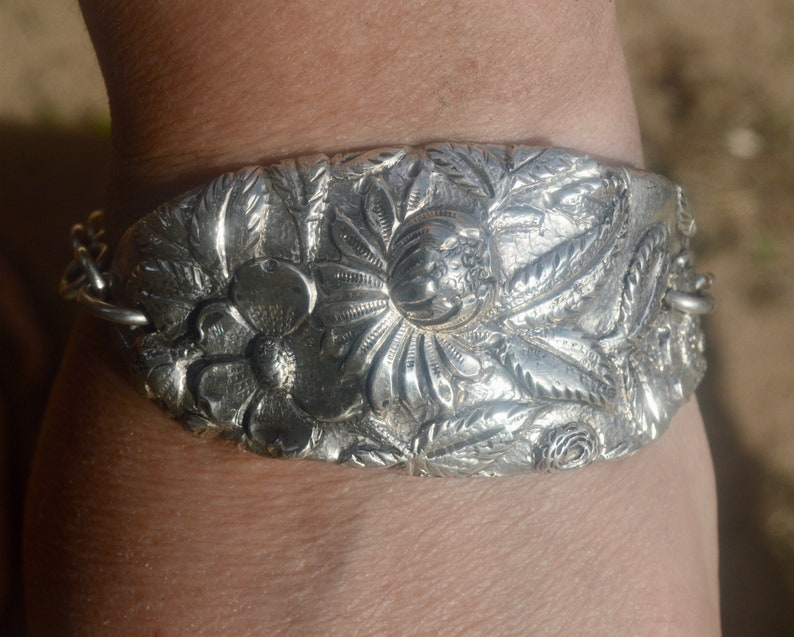 Hair Barrette Sterling Silver Kirk Repousse Hand Crafted
