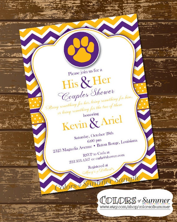 couples shower invitation purple and gold paw print etsy