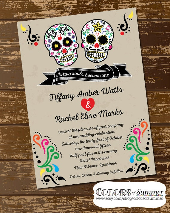 Sugar Skull Wedding Invitation As Two Souls Become One Day