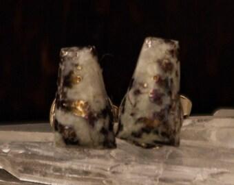 Incredible Raw Crystalline Silver Dendrite Gemstone Native Alhambra Mine Stud Earrings