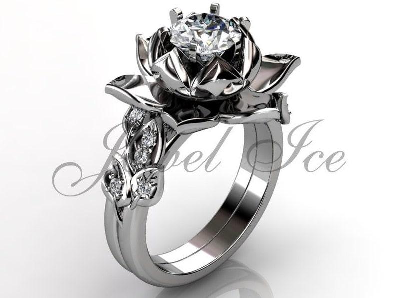 Lotus Flower Engagement Set Platinum Diamond Unusual Unique Etsy