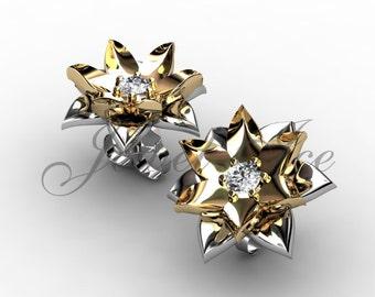 Lotus Flower Earrings - 14k white and yellow gold diamond unique flower Stud Earrings ERN-302-4.