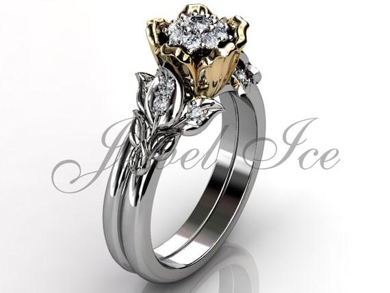 Flower Engagement Ring Set 14k White And Yellow Gold Diamond Etsy
