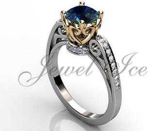 Alexandrite & Diamond Engagement Ring, 14k White Yellow Gold Diamond Filigree Engagement Ring, Alexandrite June Birthstone Ring BR-1091-4