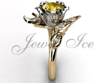 Imperial Topaz & Diamond Engagement Ring, 14k Yellow and White Gold Leaf Flower Engagement Ring, Topaz November Birthstone Ring BR-1071-7