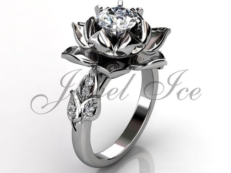 Lotus Flower Engagement Ring 14k White Gold Diamond Unusual Etsy