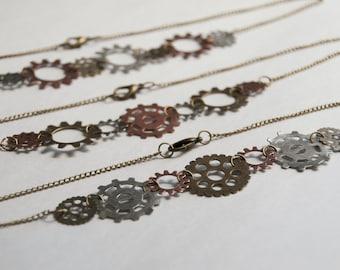 steam punk gear necklace - gear jewelry - steampunk necklace jewelry - mechanical jewelry - gear - gears
