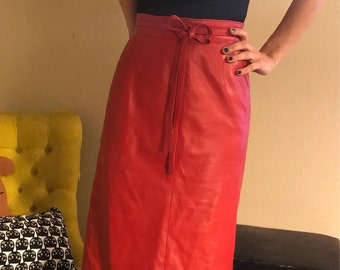 Red Leather High Waisted Skirt