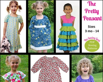 The Pretty Peasant Children's Sewing Pattern - Peasant Dress - Peasant Blouse - Knit Peasant Top - Ruffled Peasant Dress - Baby Gown