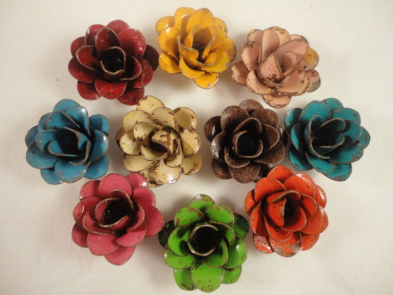 The Mini Rustic Hand Painted Metal Rose  Comes in image 0