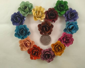 """The """"Mini"""" Rustic Hand Painted Metal Rose - Comes in a variety of colors"""