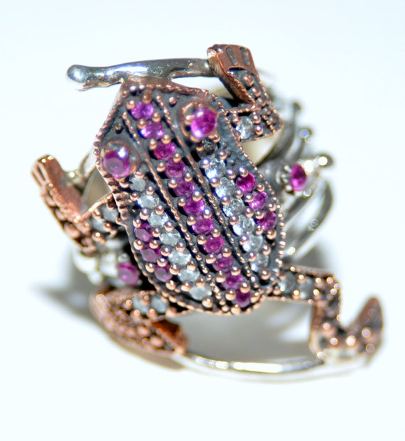 Sterling Silver Ruby Frog Ring - image 5