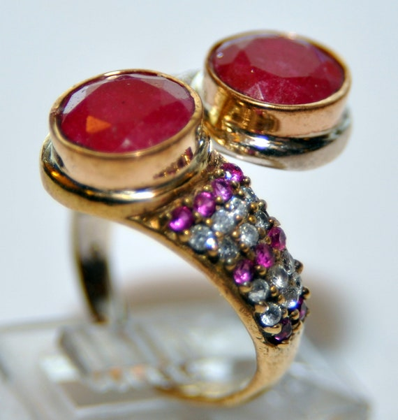 Sterling Silver Ruby Vermeil Ring - image 4