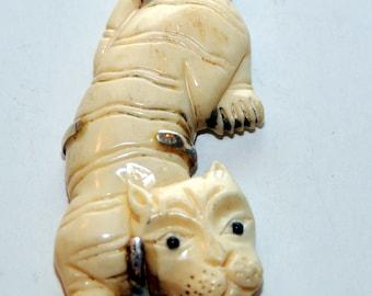 Sterling Silver Carved Bone Tiger Pendant