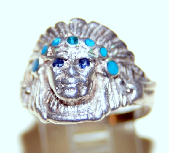 Sterling Indian Chief Ring