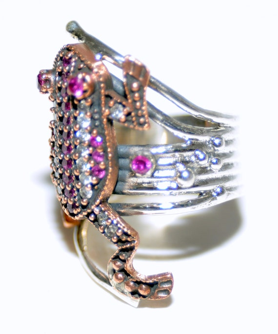 Sterling Silver Ruby Frog Ring - image 6