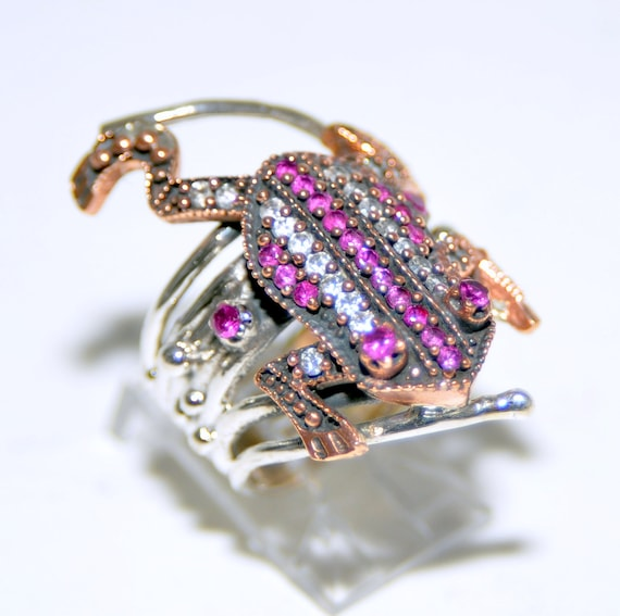 Sterling Silver Ruby Frog Ring - image 4