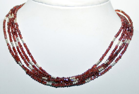 Faceted Garnet Beaded Necklace Garnet Bead Necklace Grape Garnet Necklace Sterling Silver Toggle Clasp Handmade Garnet Necklace