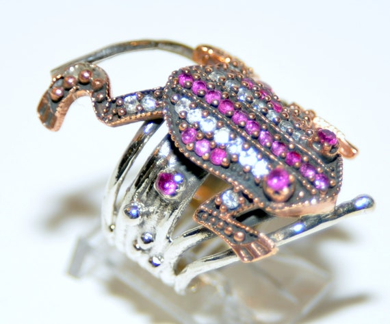 Sterling Silver Ruby Frog Ring - image 1