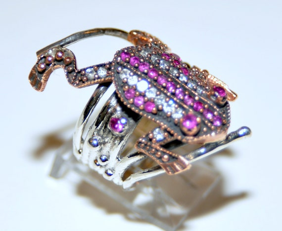 Sterling Silver Ruby Frog Ring - image 2