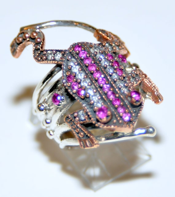 Sterling Silver Ruby Frog Ring - image 3