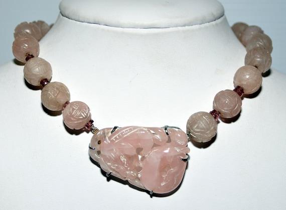 Carved Vintage Rose Quartz Dragon Necklace