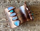 Malibu cuff - turquoise, rainbow moonstone, moonstone, turquoise jewelry, moonstone jewelry, cuff bracelet