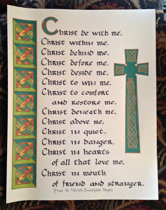 St Patrick/'s Day Card with St Patrick/'s Breastplate Prayer