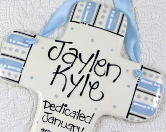 Boy Dedication Gifts // Personalized Dedication Cross in Light Blue and Gray
