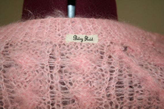 50s 1950s pink hand knit mohair sweater - image 3